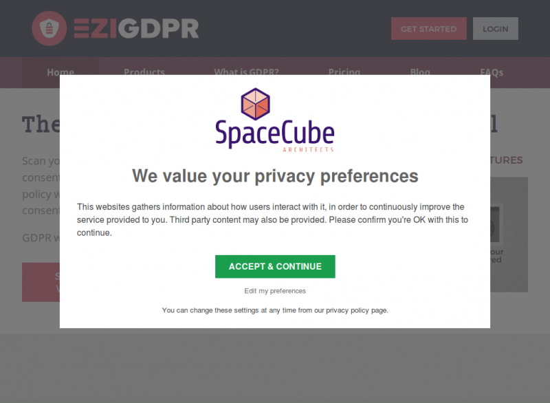 GDPR Consent Request Popup - Blanket Consent